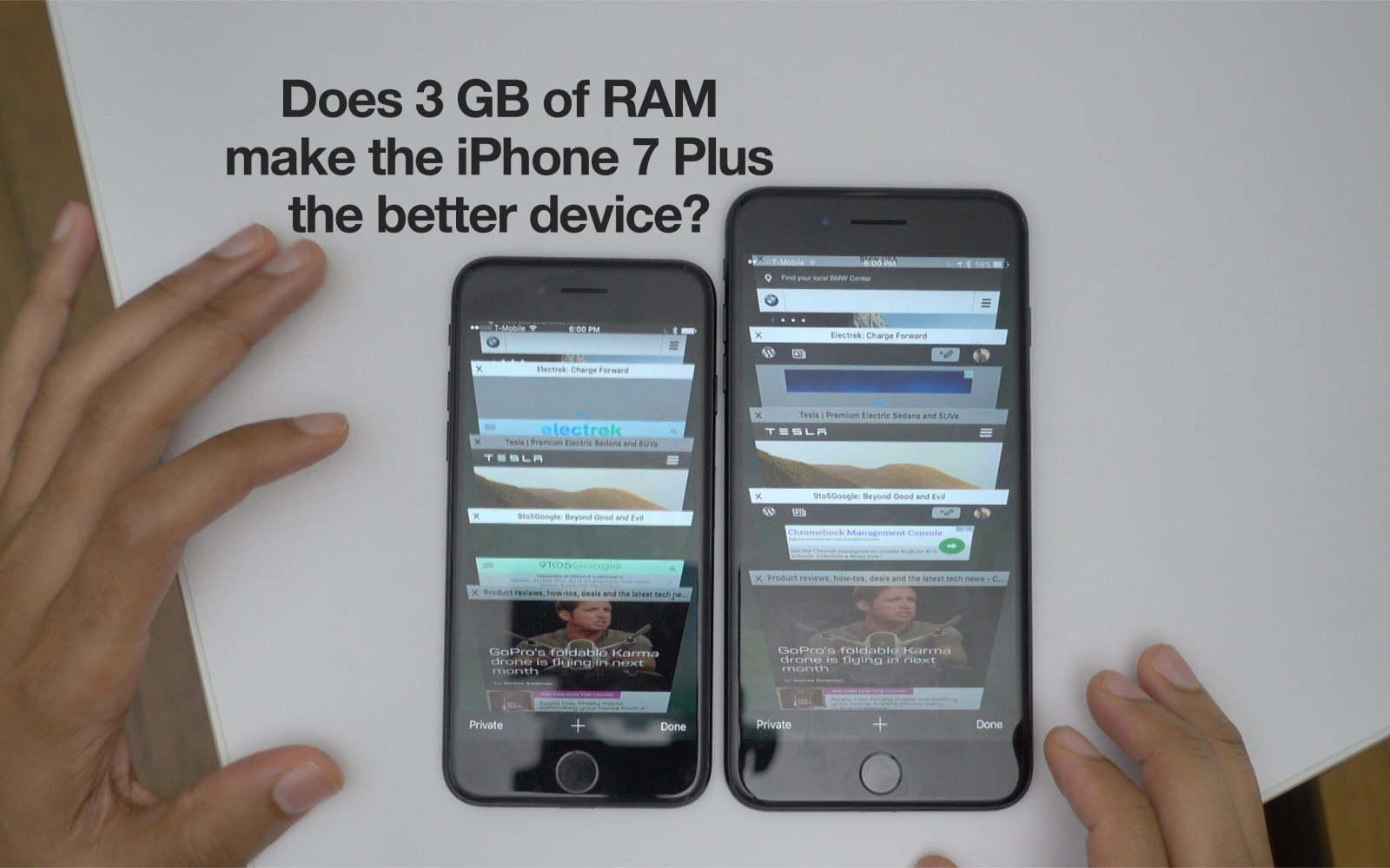 See how iPhone 7 Plus's 3GB RAM performs against iPhone 7's 2GB with our Safari tab test [Video]