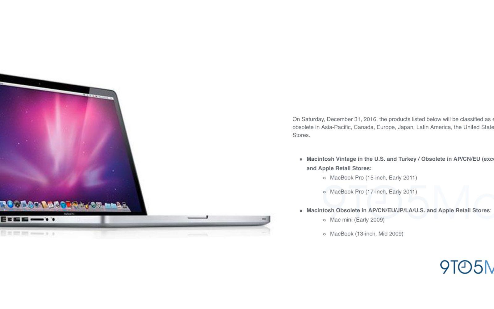 Some MacBook Pro, MacBook Air & Mac mini models will become