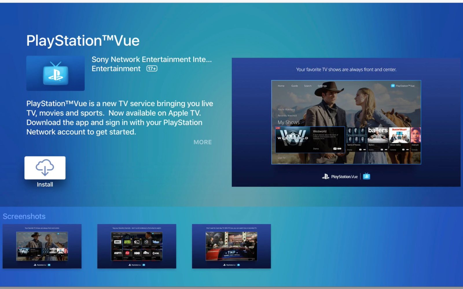 Sony releases PlayStation Vue app on Apple TV for live channel