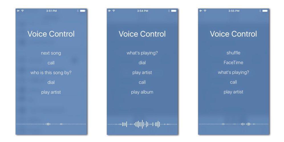Voice Control on iOS 10 on an iPhone 5s