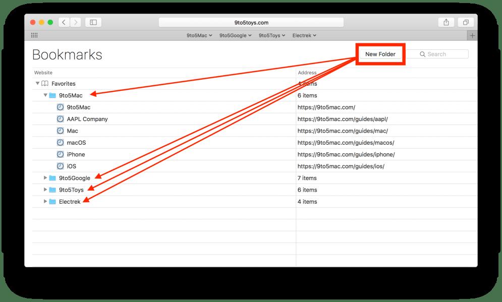 Safari Workflow Touch Bar - Bookmarks