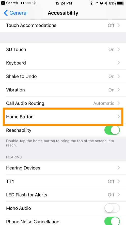 Accessibility > Home Button