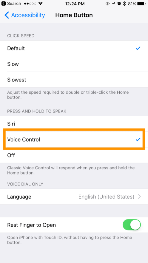 Home Button > Voice Control