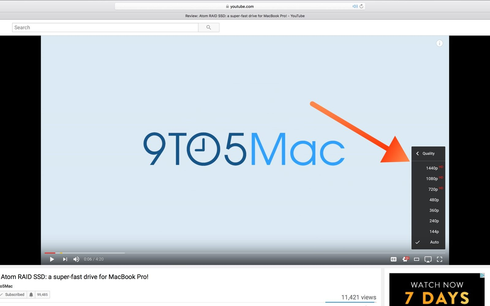 YouTube․com no longer supports 4K video playback in Safari