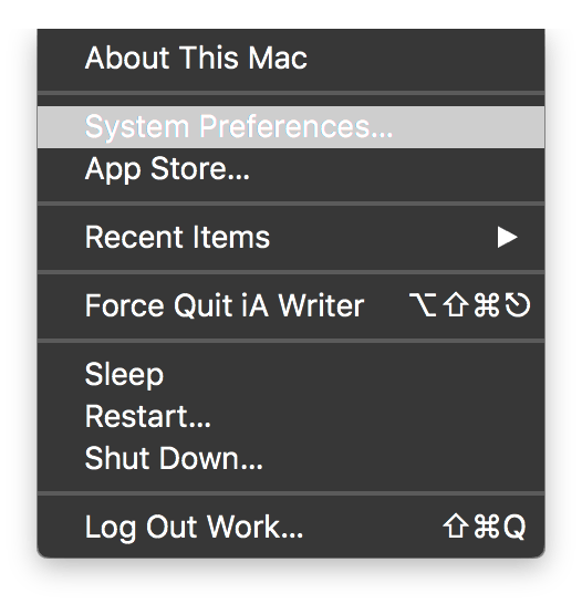 Apple > System Preferences