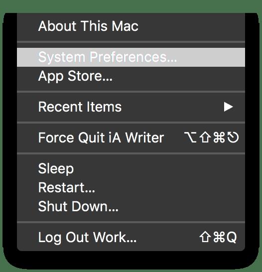 Apple > System Preferences