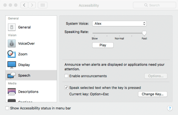 Accessibility > Speech