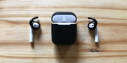 Black Earhoox on AirPods with black Podskinz charging case cover