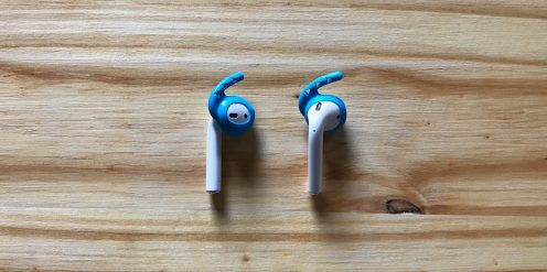 Blue Earhoox on AirPods