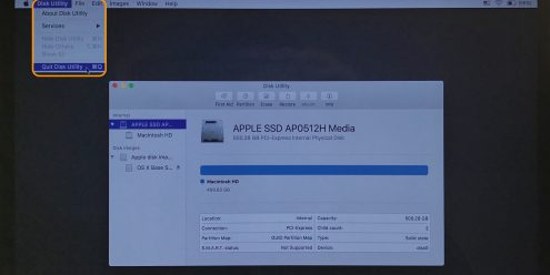 Image showing how to quit Disk Utility in macOS Recover using the menu bar