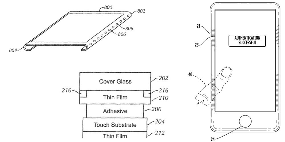 apple granted patents for bezel free display and touch id button