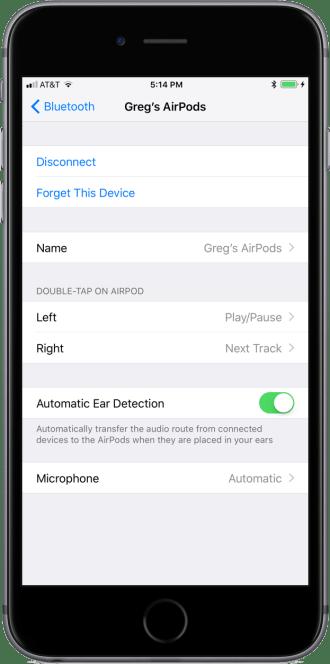 iOS 11 AirPods Settings