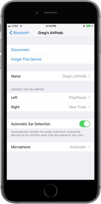 iOS 11 AirPods Settings