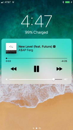 iOS 11 Lock Screen Now Playing Music