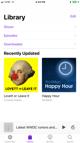 iOS 11 Podcasts Library
