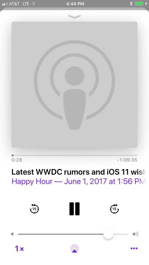 iOS 11 Podcasts Now Playing