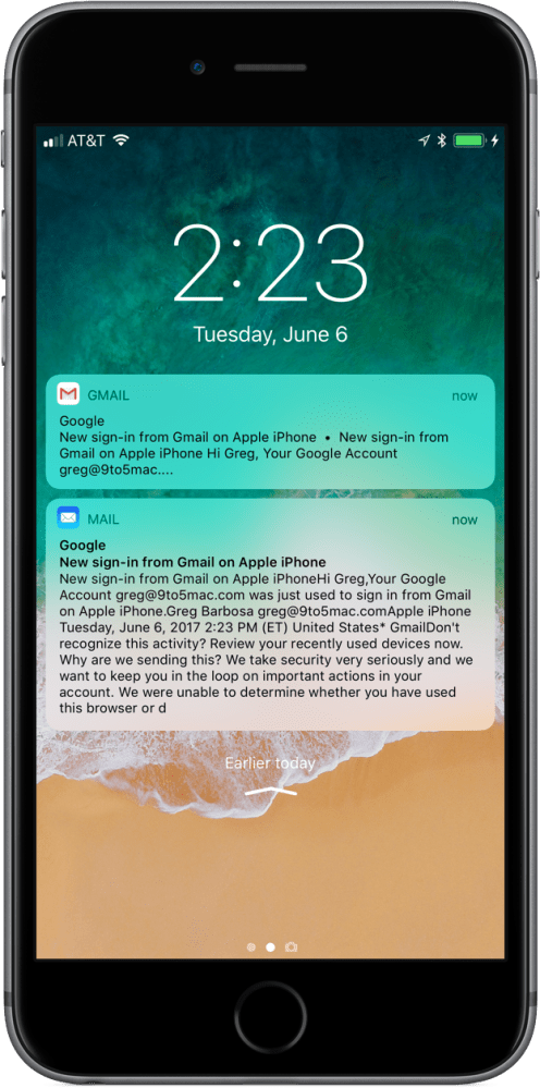 iOS 11 Gmail Push Notifications