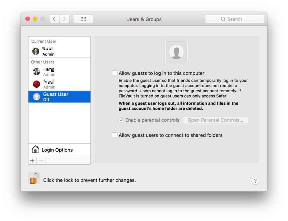 Disabling macOS Guest User