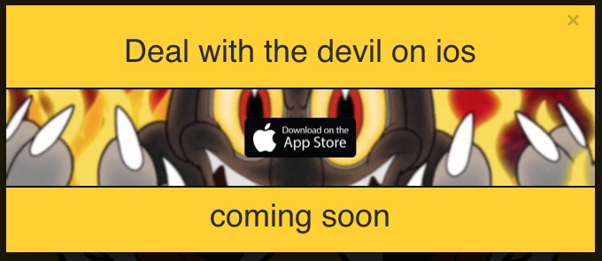 Fake alert advertising Cuphead for iOS