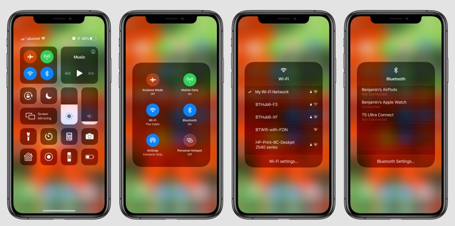 Image result for ios 13Wi-Fi and Bluetooth Connections In Control Center