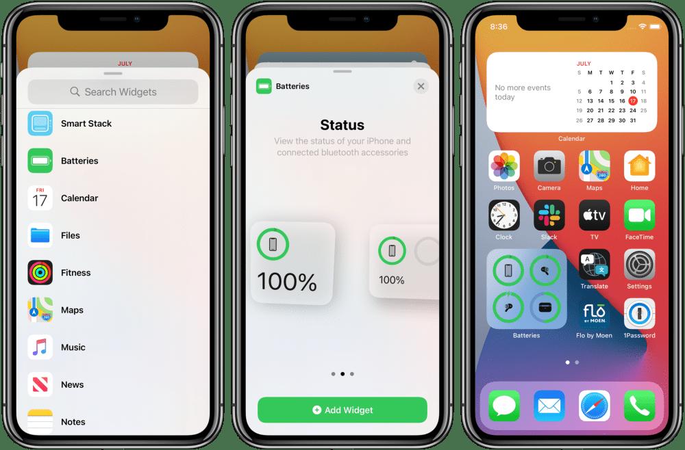 как показать процент заряда батареи iPhone iOS 14 виджет батареи