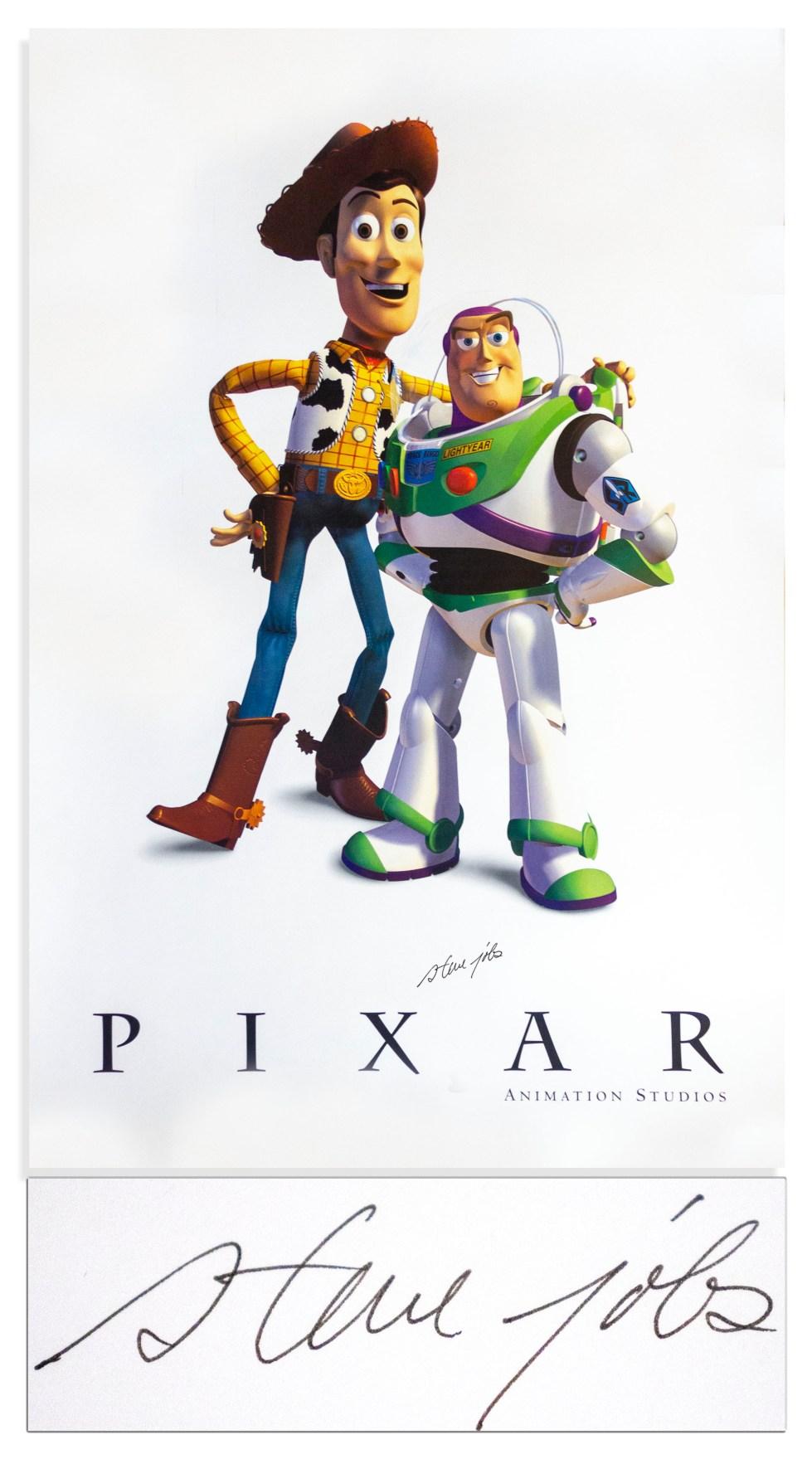 Steve Jobs Pixar Toy Story autographed poster