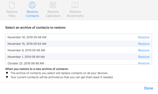 How to restore deleted iCloud contacts calendars bookmarks walkthrough 3