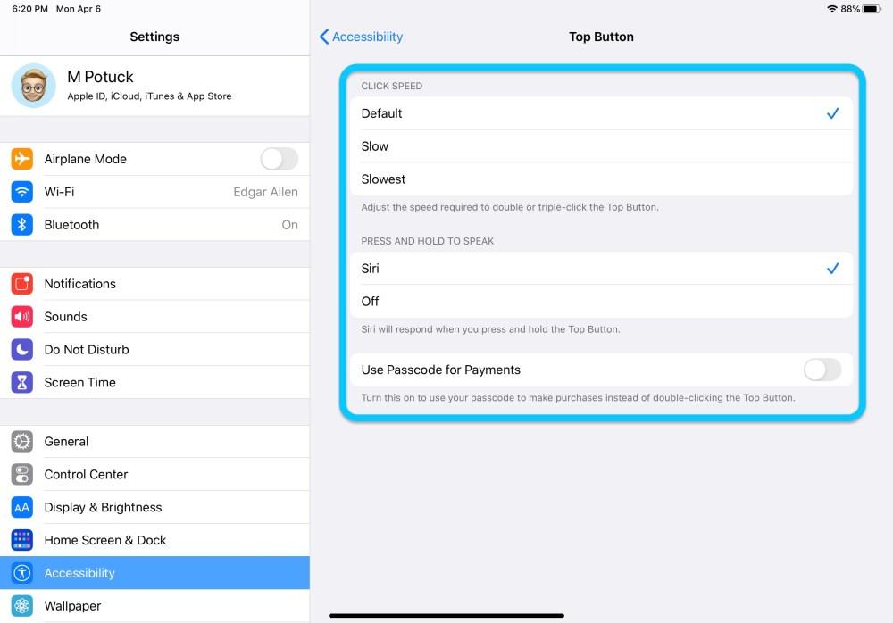 Как настроить верхнюю кнопку iPad Pro прохождение 2