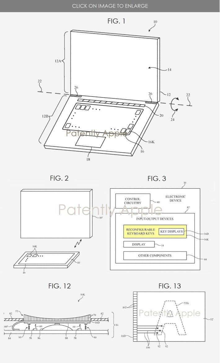 Apple reconfigurable Mac keyboard patent