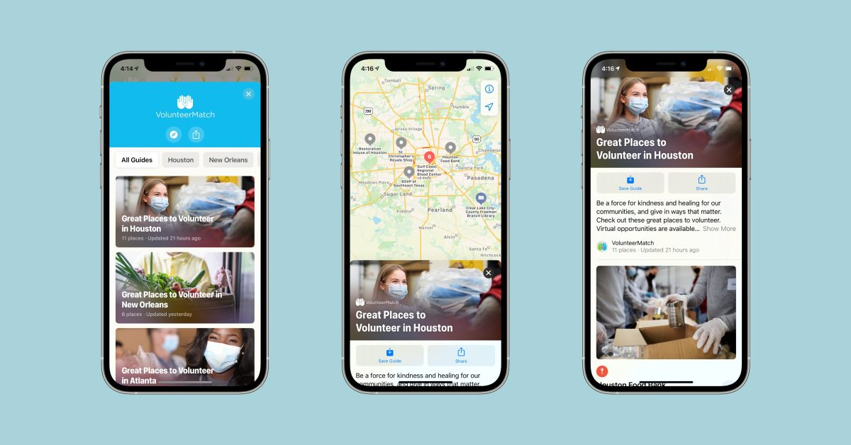 Apple Maps adds VolunteerMatch integration with curated guides for giving back to communities