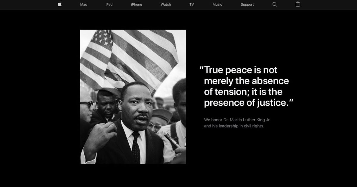Martin Luther King Jr. Day celebrated on Apple home page - 9to5Mac