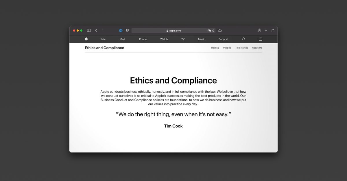 photo of Apple debuts new 'Ethics and Compliance' webpage with details on conduct policies and more image
