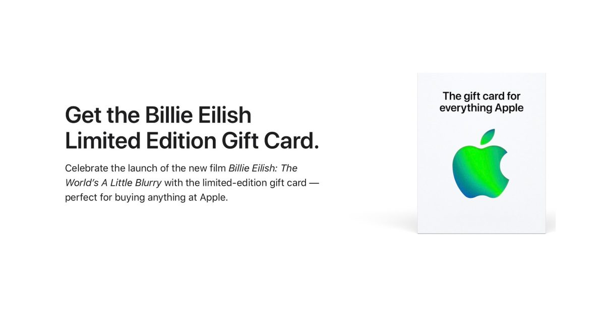 photo of Apple selling limited-edition Billie Eilish Gift Card following TV+ documentary release image