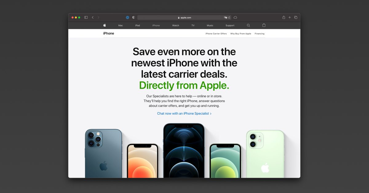 Apple launches new page on its website highlighting carrier offers on iPhone 12 models - 9to5Mac
