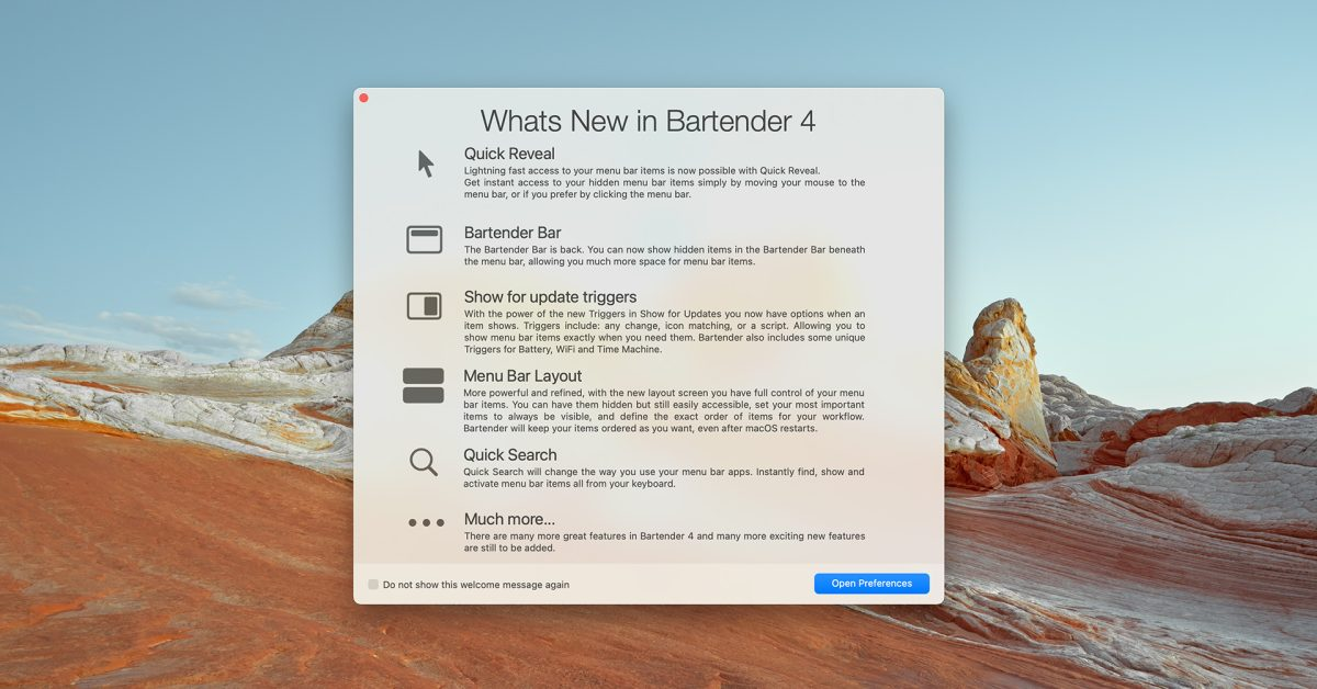 photo of Bartender 4 menu bar utility updated with macOS Big Sur and M1 Mac support image