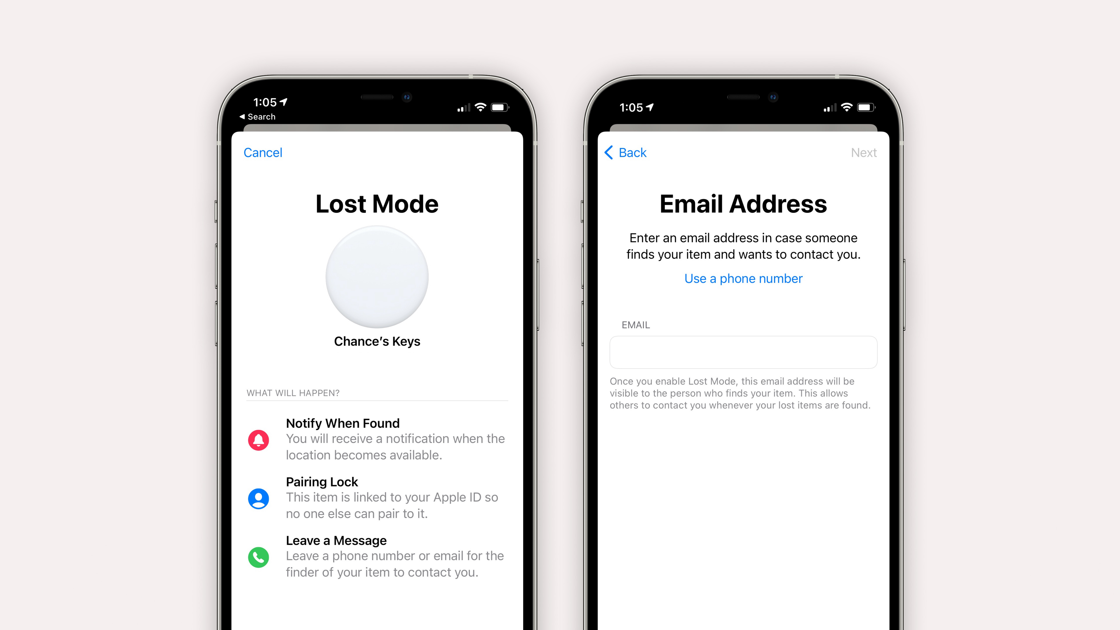 iOS 14.6 lets you use an email address to put AirTag and other items into Lost Mode