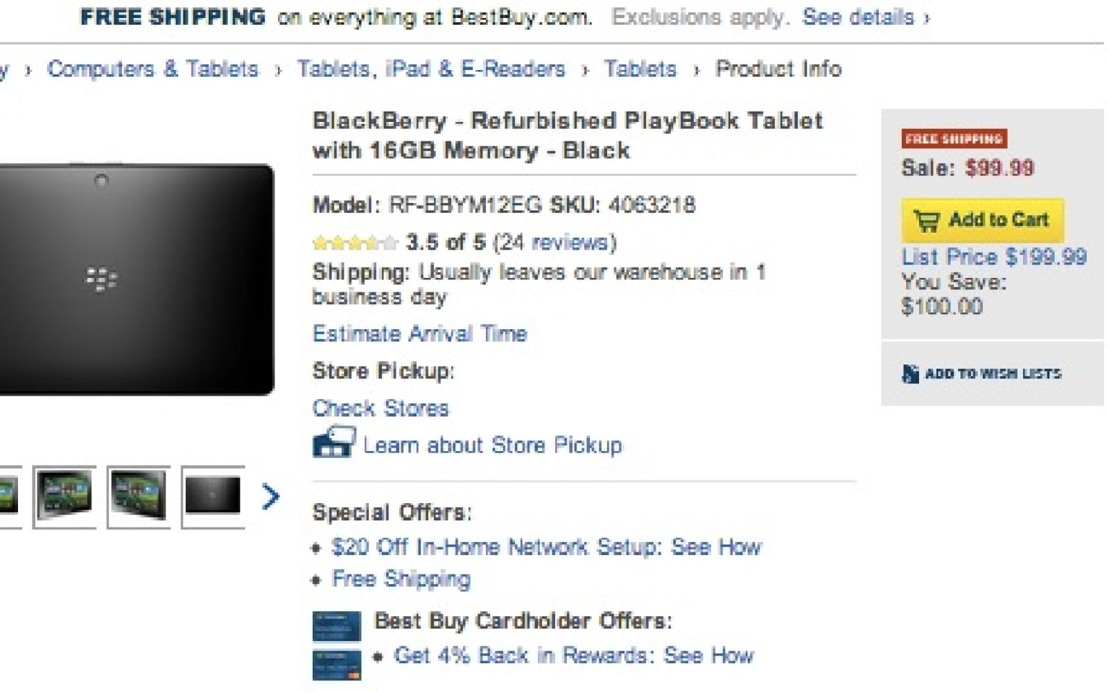 BlackBerry - Refurbished PlayBook Tablet with 16GB Memory