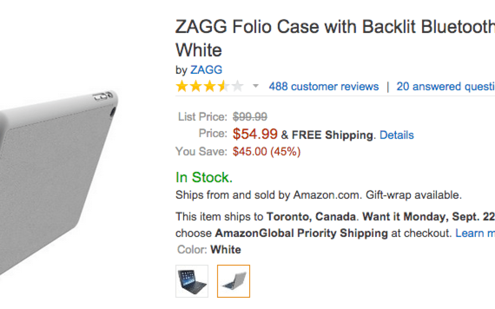 ZAGG Folio Case w/ Backlit Bluetooth Keyboard for iPad Air (white) $55 shipped (Reg. $100)