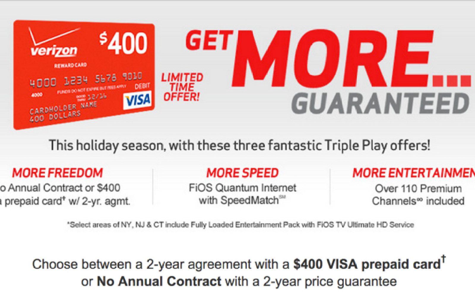 Verizon FIOS Triple Play + 2yrs  of premium channels + $400