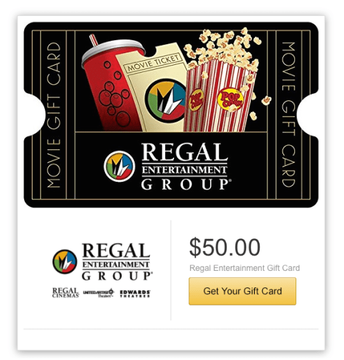 Gift Cards W/ Email Delivery 20% Off: Fandango, Regal