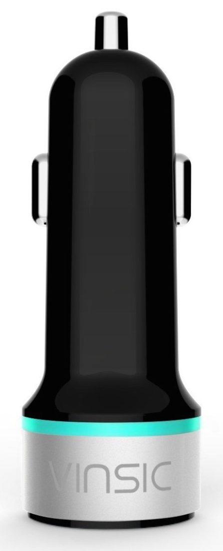 Vinsic 24W Dual USB Port 5V 4.8A USB Car Charger for iPhone 6 Plus:6:5S:5:4S, iPad, Samung Galaxy, Smart Phone, Tablets (Black)
