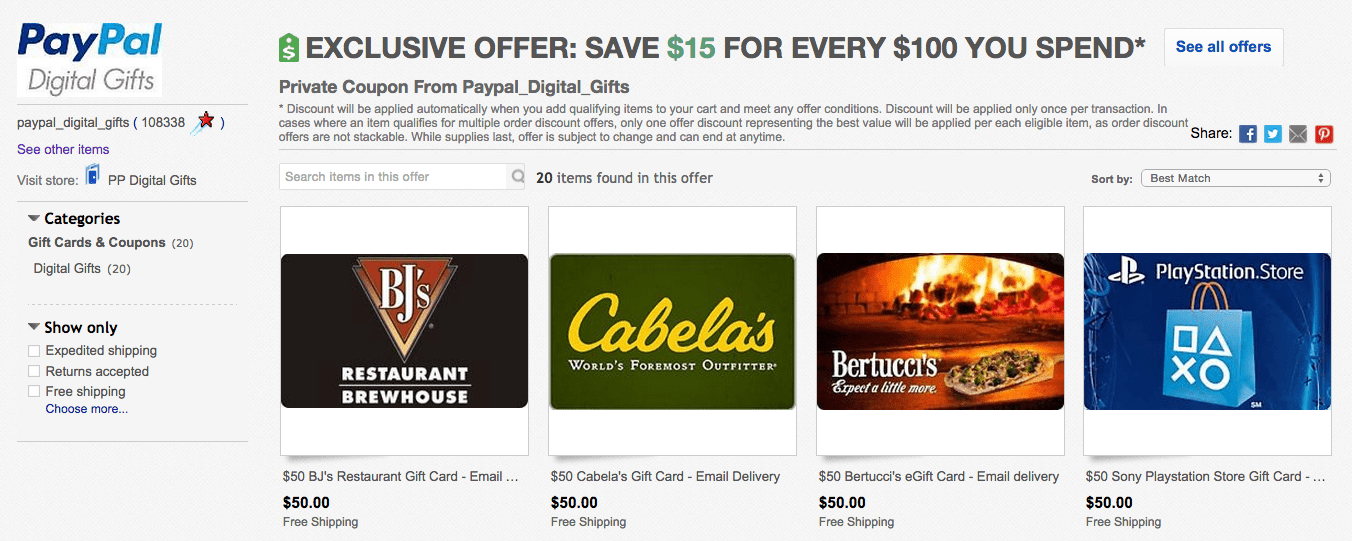 Cabelas Gift Card Ebay Promotion - My Own Email