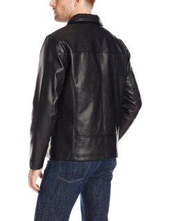 Cole Haan Vegan Leather Mens Jacket Black rear view