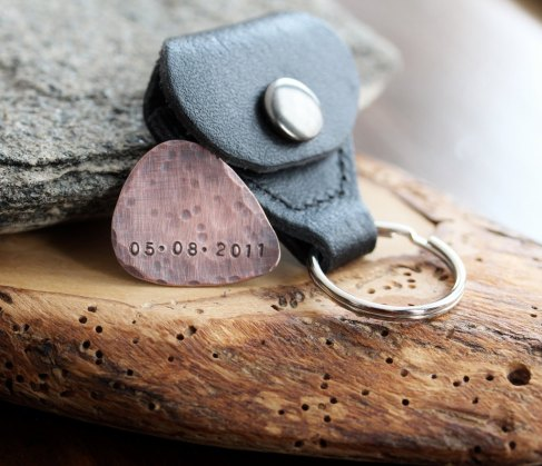 Personalized Guitar Pick & Leather Keychain Pouch-1