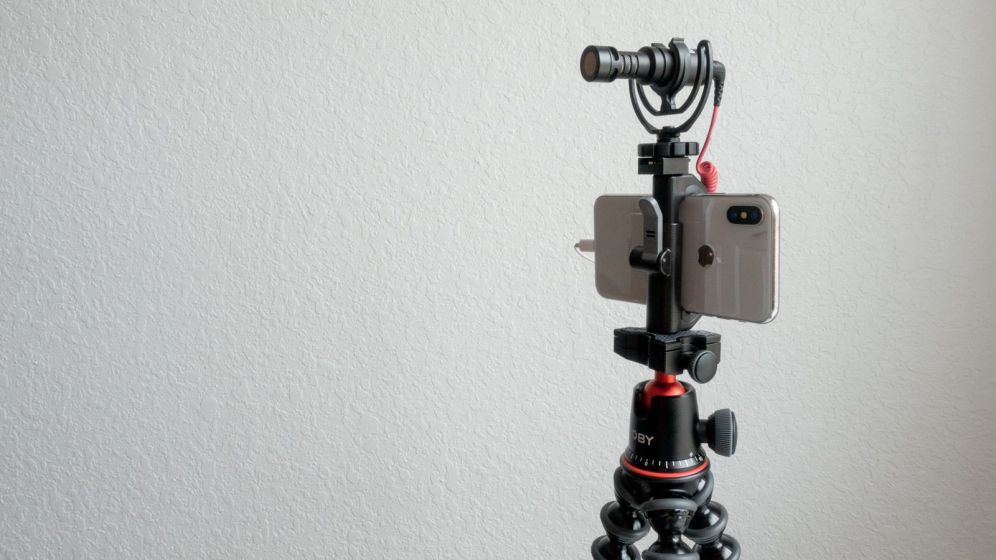 iPhone X with Rode VideoMicro and Gorillapod