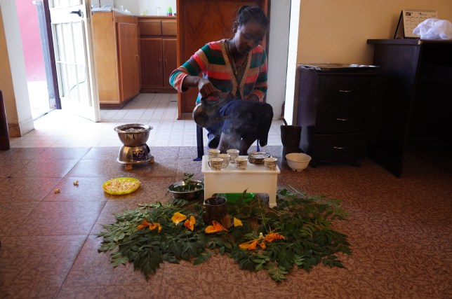Bunna cermony at my AirBnB in Ethiopia