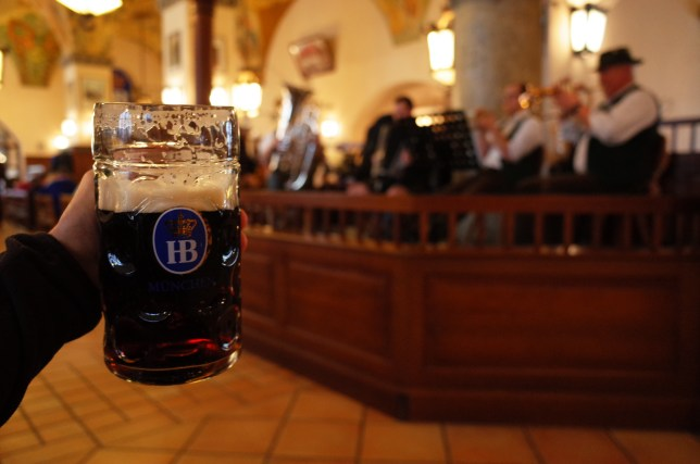 A beer and oompa band at Hofbrauhaus Munchen