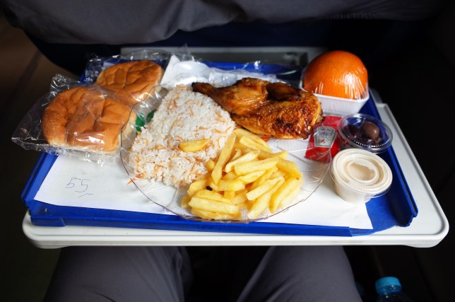 Lunch on the Luxor to Cairo train in Egypt