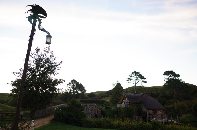 Outside the Green Dragon Inn at Hobbiton