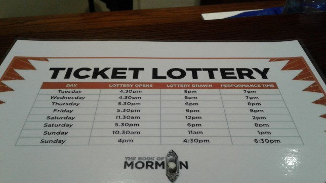 Book of Mormon Melbourne lottery